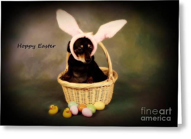 Dachshund Puppy Digital Art Greeting Cards - Hoppy Easter Greeting Card by Denise Oldridge
