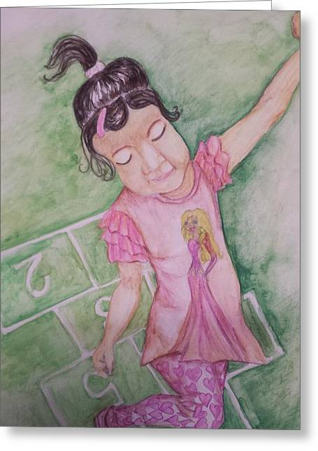 Hopscotch Greeting Card by Cherie Sexsmith