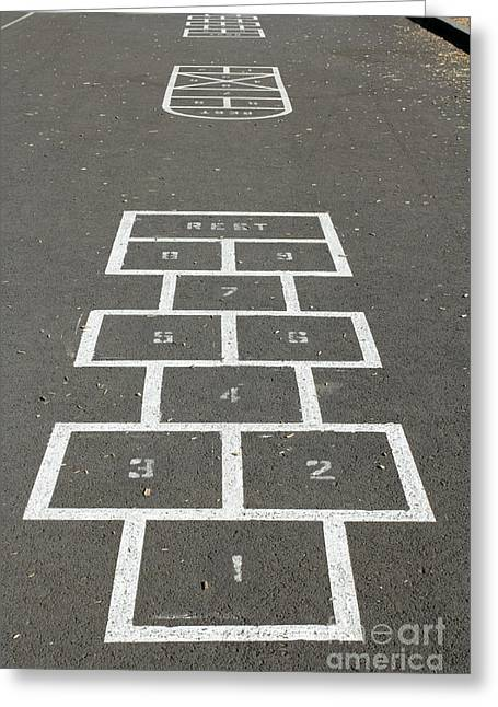 Hopscotch Greeting Cards - Hopscotch Courts Greeting Card by Lee Serenethos