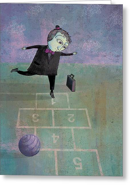 Businessmen Greeting Cards - Hopscotch Greeting Card by Dennis Wunsch