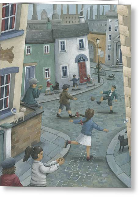 Hill Town Greeting Cards - Hopscotch Down The Hill Greeting Card by Peter Adderley
