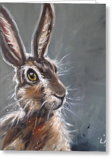 March Hare Paintings Greeting Cards - Horatio Hare Greeting Card by Louise  Brown