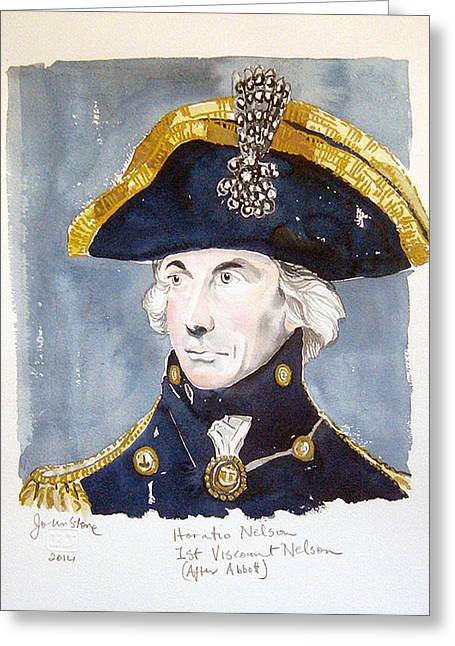 Lord Nelson Paintings Greeting Cards - Horatio Nelson Greeting Card by Ray Johnstone