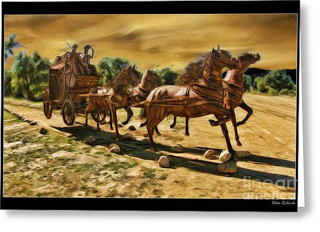 Horse Websites Greeting Cards - Hores and Wagon Greeting Card by Blake Richards