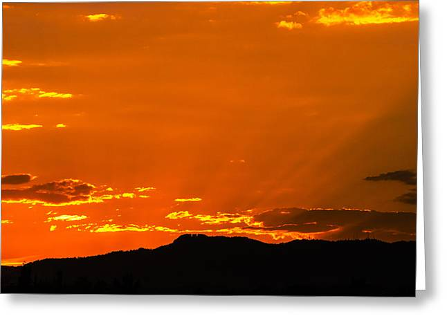 Horetooth Rock At Sunset Greeting Card by Rebecca Adams