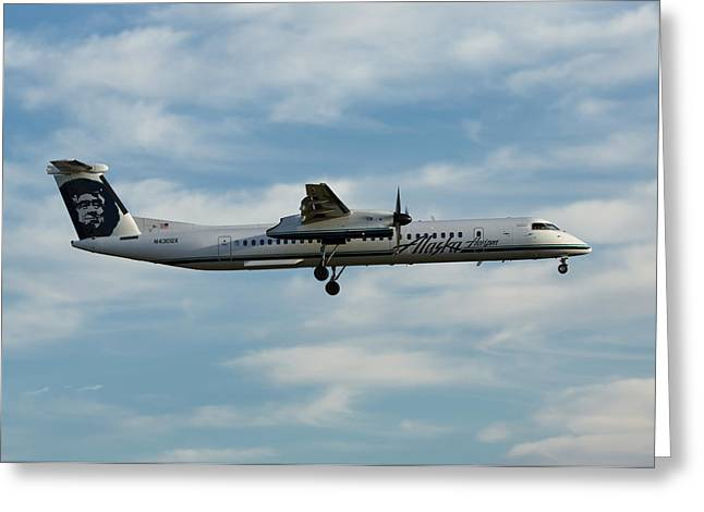 Victoria Johns Greeting Cards - Horizon Airlines Q-400 Approach Greeting Card by John Daly