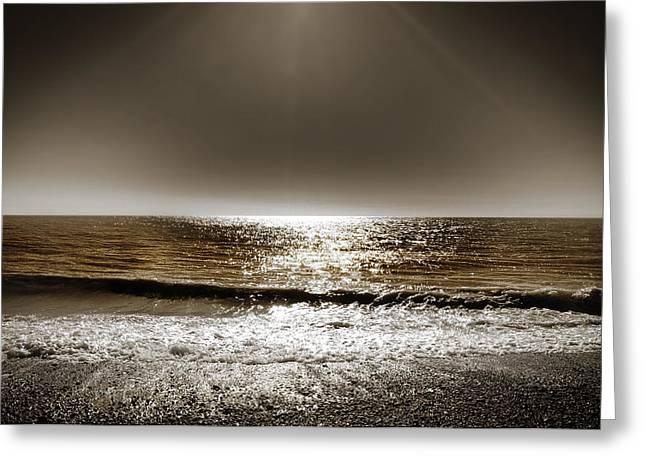 Waves Seaside Greeting Cards - Horizon Greeting Card by Mark Rogan