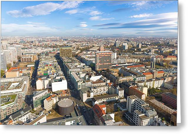 Berliner Greeting Cards - Horizontal Aerial View of Berlin Greeting Card by Semmick Photo