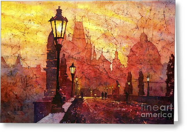 Charles Bridge Paintings Greeting Cards - Horizontal Flip Greeting Card by Ryan Fox