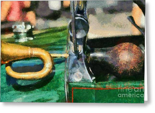 Vintage Hood Ornaments Paintings Greeting Cards - Horn on 1929 Ford A Greeting Card by George Atsametakis