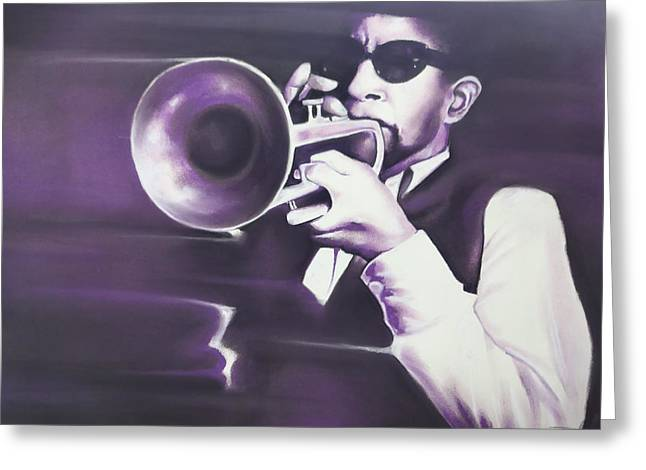 Horns Pastels Greeting Cards - Horn player Greeting Card by Idorenyin Sam Awak