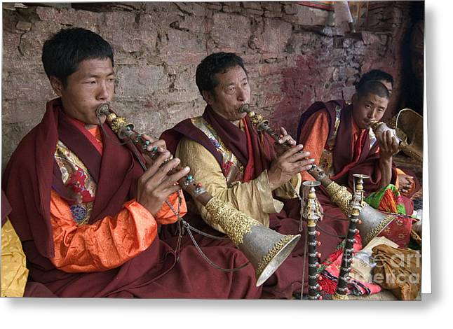 Tibetan Region Greeting Cards - Horn Players - Katok Monastery Greeting Card by Craig Lovell