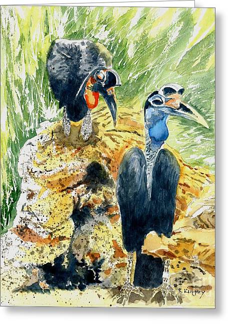 Hornbill Paintings Greeting Cards - Hornbill Courtship Greeting Card by Ralph Kingery