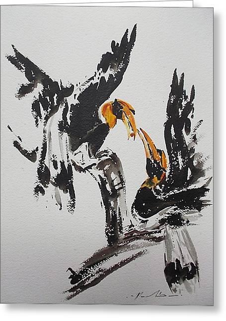 Hornbill Paintings Greeting Cards - Hornbill  Greeting Card by Pornchai Lerttamasiri