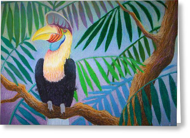 Lush Green Pastels Greeting Cards - Hornbill Portrait Greeting Card by Daniel Wend