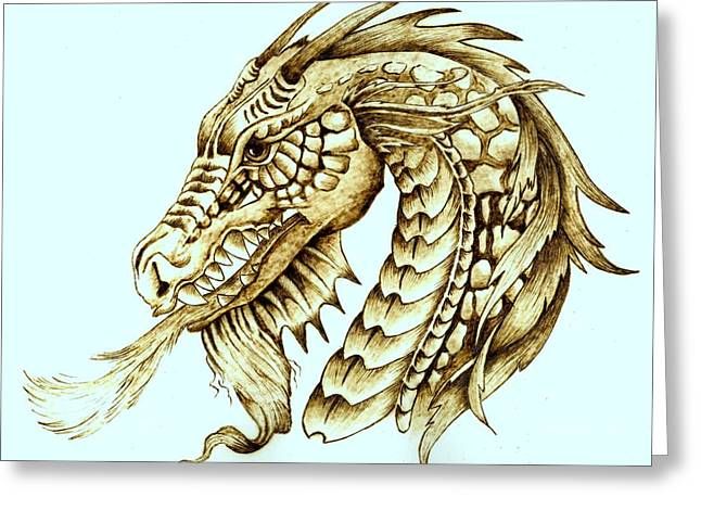Hand Made Pyrography Greeting Cards - Horned Dragon Greeting Card by Danette Smith