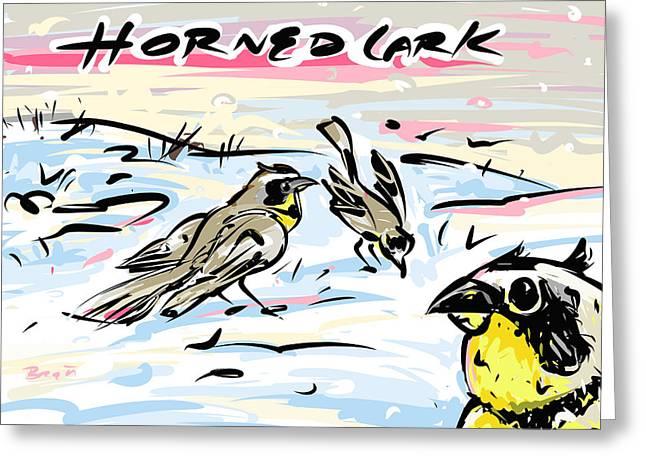 Horned Larks Greeting Cards - Horned Lark Greeting Card by Brett LaGue