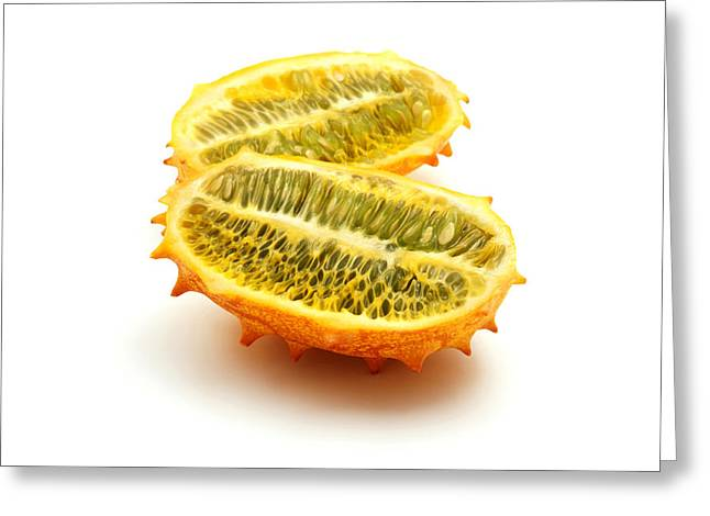 White Background Greeting Cards - Horned melon Greeting Card by Fabrizio Troiani