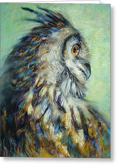 Horns Pastels Greeting Cards - Horned Owl Study 1 Greeting Card by Tonja  Sell