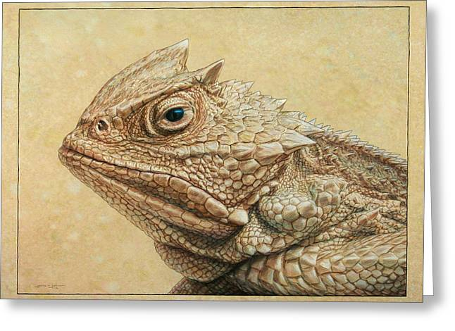 Animals Drawings Greeting Cards - Horned Toad Greeting Card by James W Johnson