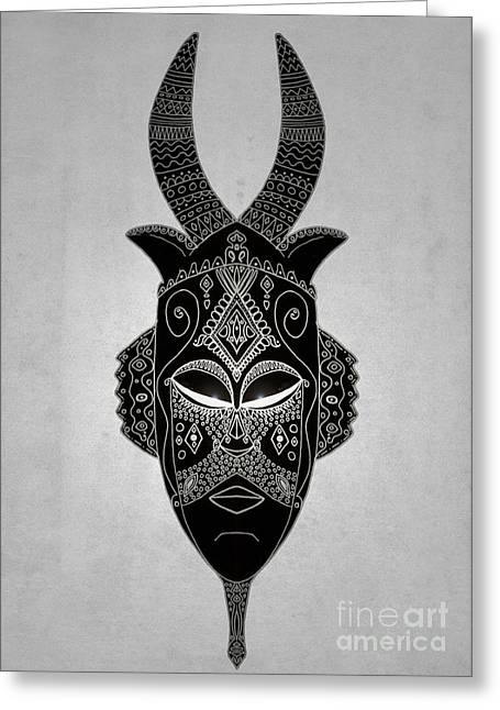 Tribal Decoration Greeting Cards - Horned tribal mask Greeting Card by Barruf