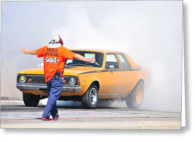 American Motors Corporation Greeting Cards - Hornet Heats em Up Greeting Card by Mike Martin