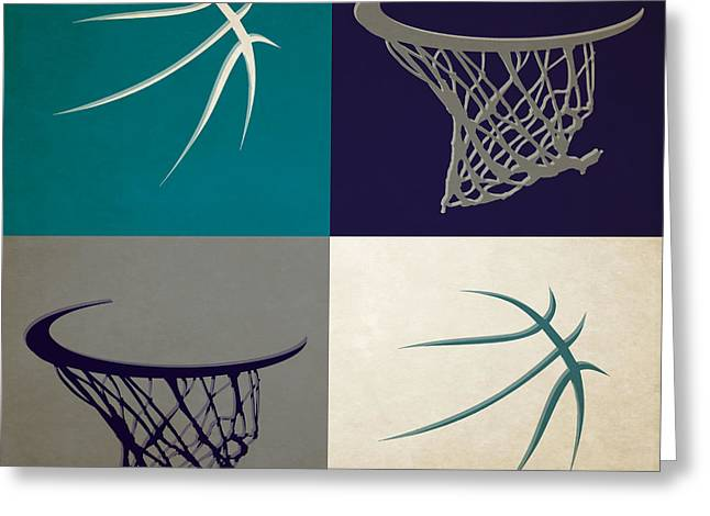 Charlotte Greeting Cards - Hornets Ball And Hoop Greeting Card by Joe Hamilton