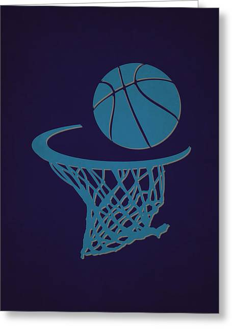Charlotte Greeting Cards - Hornets Team Hoop2 Greeting Card by Joe Hamilton
