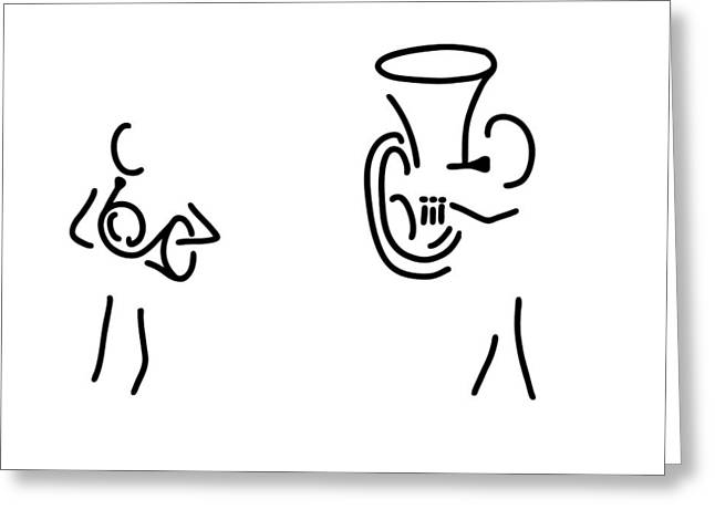 Tubist Greeting Cards - Hornist Tuba Brass Player Greeting Card by Lineamentum