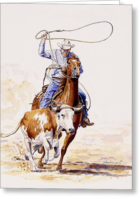 Cowboys Greeting Cards - Horns and Hooves Greeting Card by Don Dane