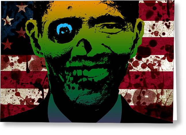Horrific Zombie Obama Greeting Card by Robert Phelps
