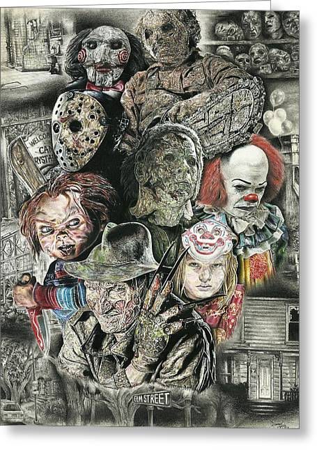 Leather Drawings Greeting Cards - Horror Movie Murderers Greeting Card by Daniel  Ayala