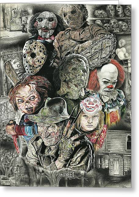 Horror Movie Murderers Greeting Card by Daniel  Ayala