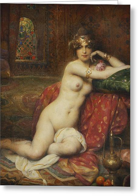 Harem Paintings Greeting Cards - Hors Concours Femme dOrient Greeting Card by Henri Adrien Tanoux