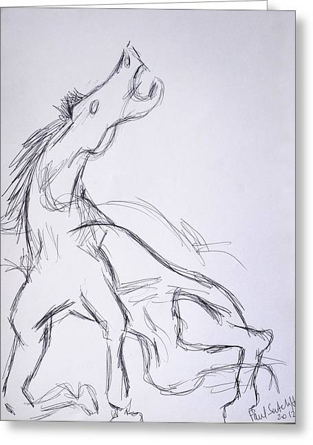 Horse ...after Picasso Greeting Card by Paul Sutcliffe