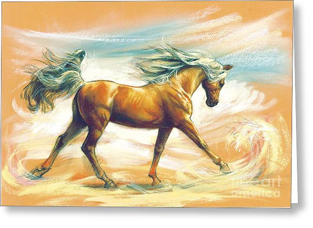 Wild Horse Greeting Cards - Horse Akalteke Greeting Card by Zorina Baldescu