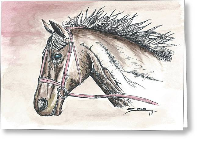 Barn Pen And Ink Greeting Cards - Horse Greeting Card by Alex Sholar