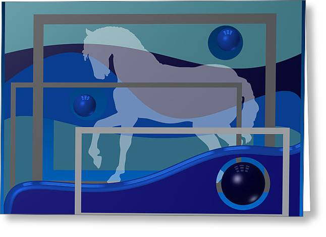 Abstract Geometric Greeting Cards - Horse And Blue Balls Greeting Card by Alberto  RuiZ