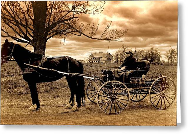 Conservative Greeting Cards - Horse and Buggy Antique Greeting Card by Henry Kowalski