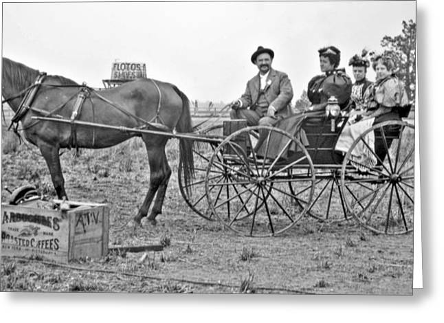 Horse And Buggy Greeting Cards - Horse and Buggy Days American Genre Scene c 1900 Vintage Phot Greeting Card by A Gurmankin