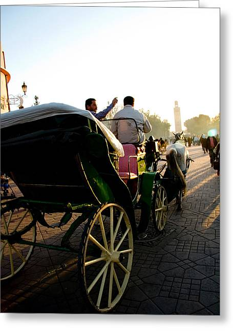 Horse Buggy Greeting Cards - Horse and buggy in the Al Fna square Marr Greeting Card by David Smith
