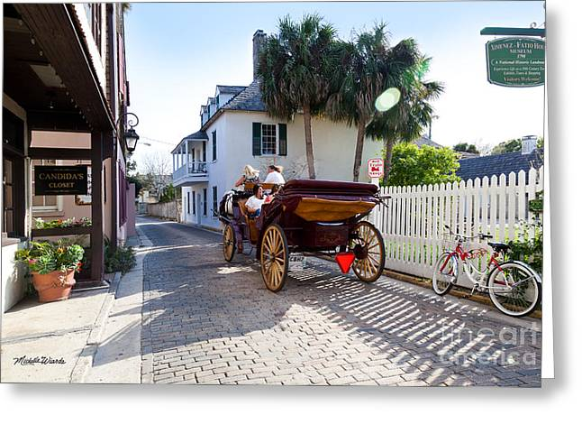 Horse And Buggy Photographs Greeting Cards - Horse and Buggy Ride St Augustine Greeting Card by Michelle Wiarda