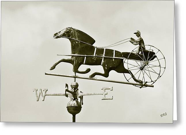 Wind Vane Greeting Cards - Horse And Buggy Weathervane In Sepia Greeting Card by Ben and Raisa Gertsberg