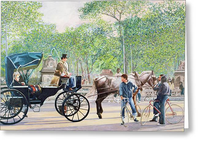 Horse And Buggy Paintings Greeting Cards - Horse and Carriage Greeting Card by Anthony Butera