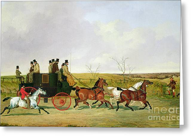 Old Country Roads Paintings Greeting Cards - Horse and Carriage Greeting Card by David of York Dalby