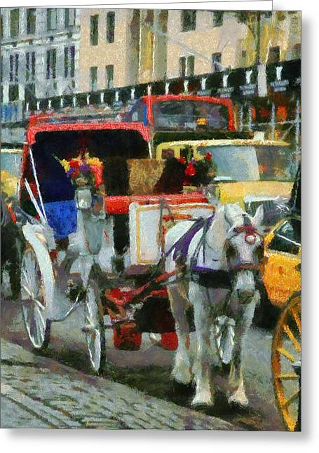 Wagon Mixed Media Greeting Cards - Horse And Carriage In New York City Greeting Card by Dan Sproul