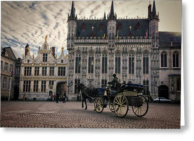 Europe Greeting Cards - Horse and Carriage Greeting Card by Joan Carroll