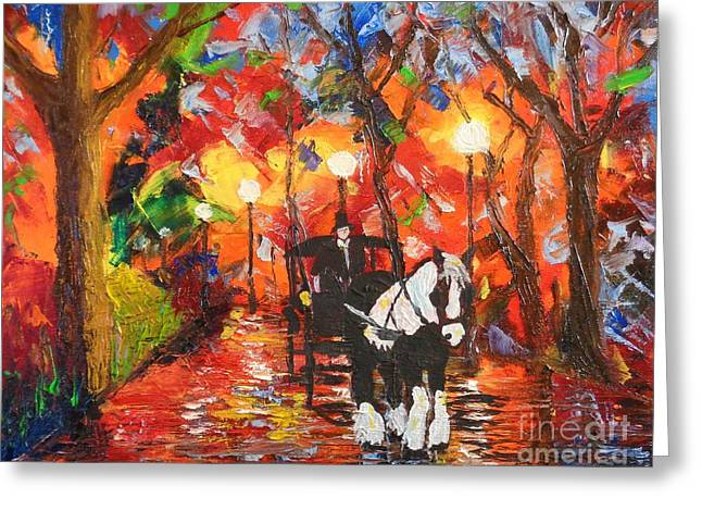 Horse And Buggy Greeting Cards - Horse and Carriage Greeting Card by Sharon  Woods