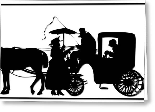 Horse Whip Digital Art Greeting Cards - Horse and Carriage Silhouette Greeting Card by Rose Santuci-Sofranko