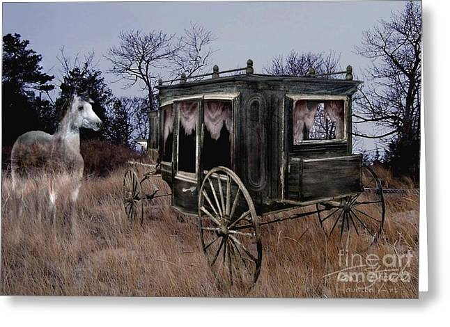 Ghostly Tears Greeting Cards - Horse and Carriage Greeting Card by Tom Straub